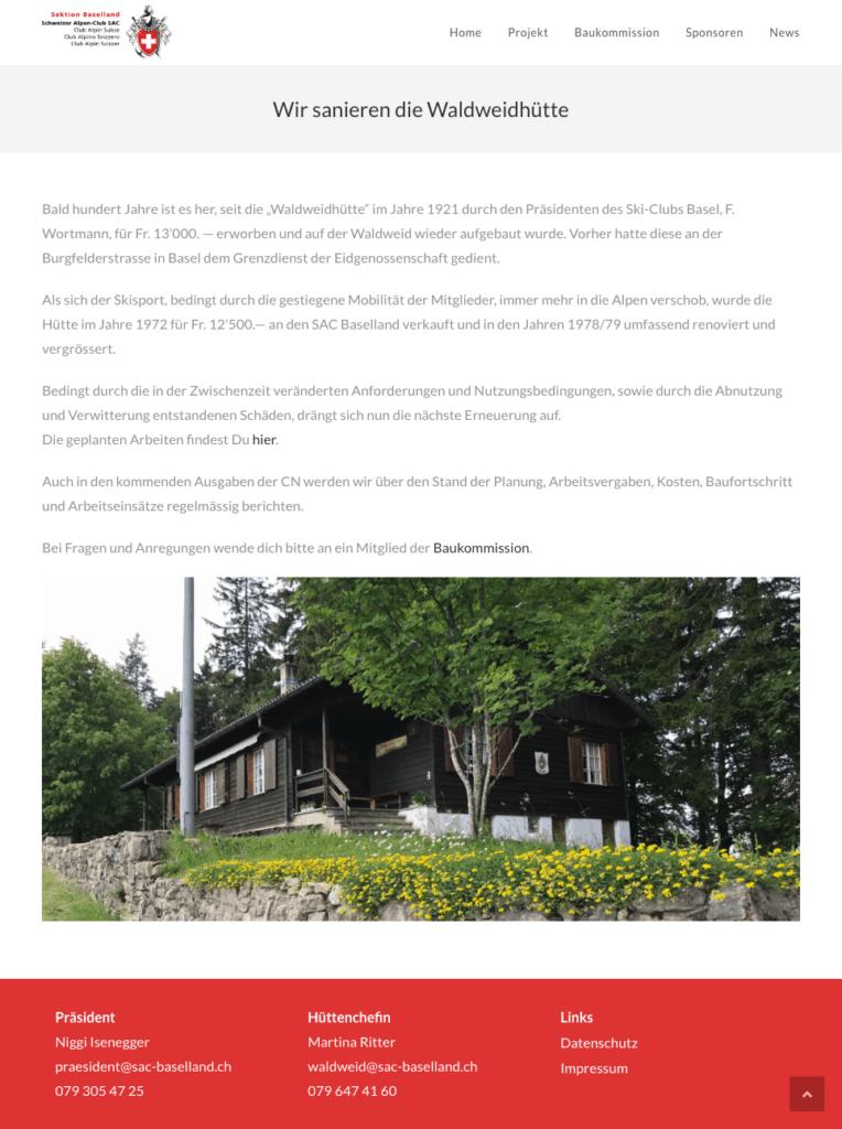 Webseite Sanierung Waldweidhuette